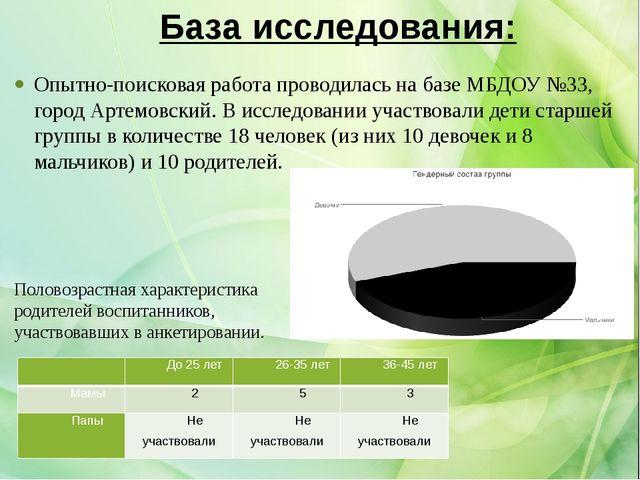 База исследования: Опытно-поисковая работа проводилась на базе МБДОУ №33, гор...