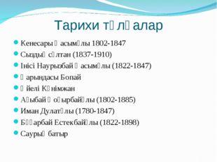 Тарихи тұлғалар Кенесары Қасымұлы 1802-1847 Сыздық сұлтан (1837-1910) Інісі Н