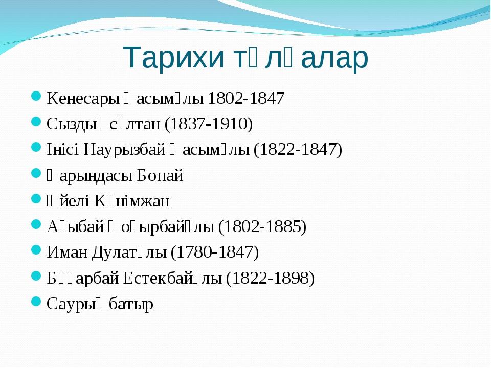 Тарихи тұлғалар Кенесары Қасымұлы 1802-1847 Сыздық сұлтан (1837-1910) Інісі Н...