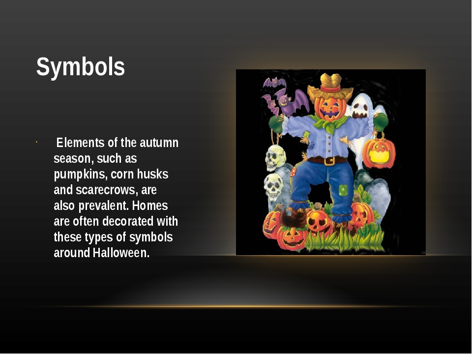 Symbols Elements of the autumn season, such as pumpkins, corn husks and scare...