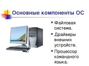 * Основные компоненты ОС Файловая система. Драйверы внешних устройств. Процес