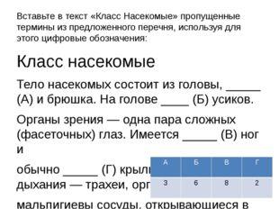 Вставьте в текст «Класс Насекомые» пропущенные термины из предложенного переч