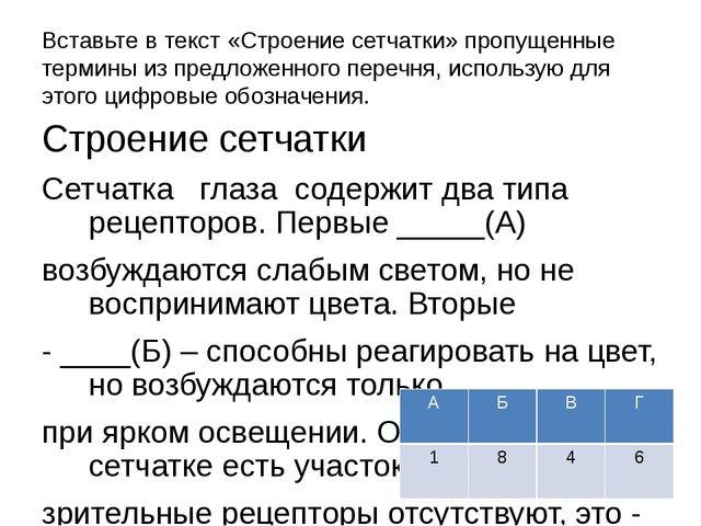 Вставьте в текст «Строение сетчатки» пропущенные термины из предложенного пер...