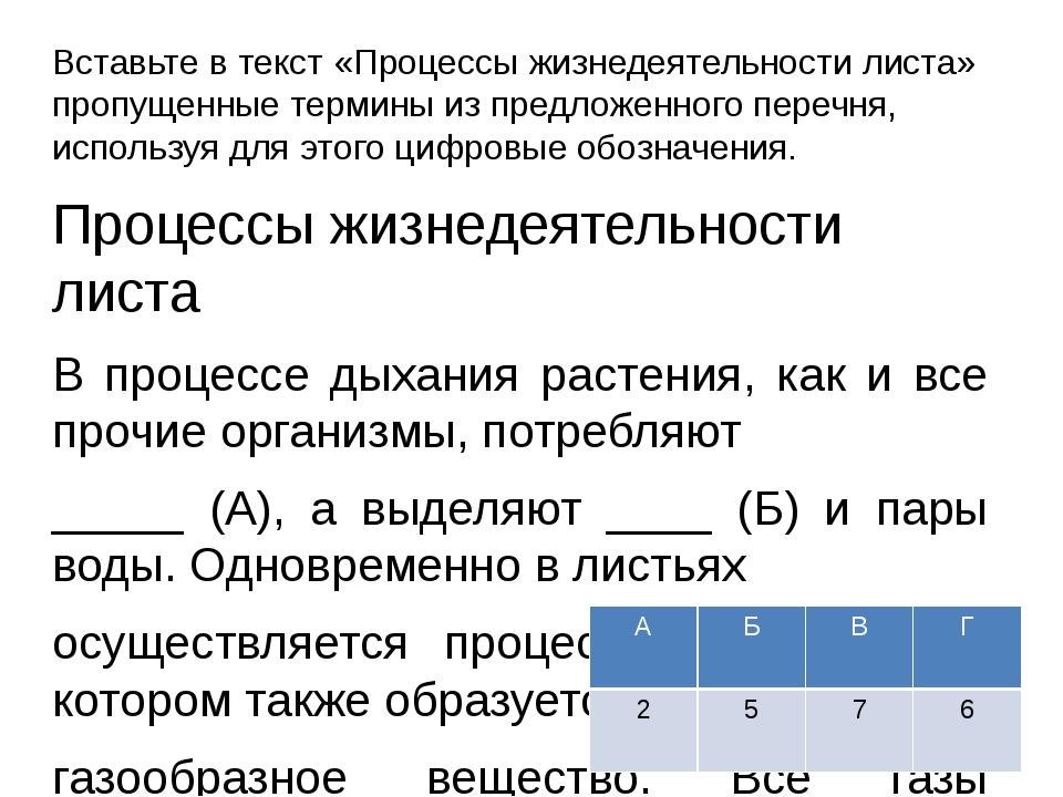 Вставьте в текст «Процессы жизнедеятельности листа» пропущенные термины из пр...