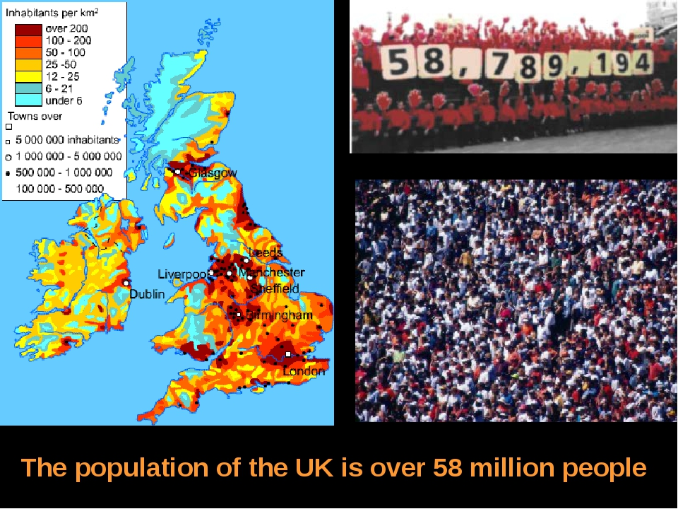 The population of the UK is over 58 million people