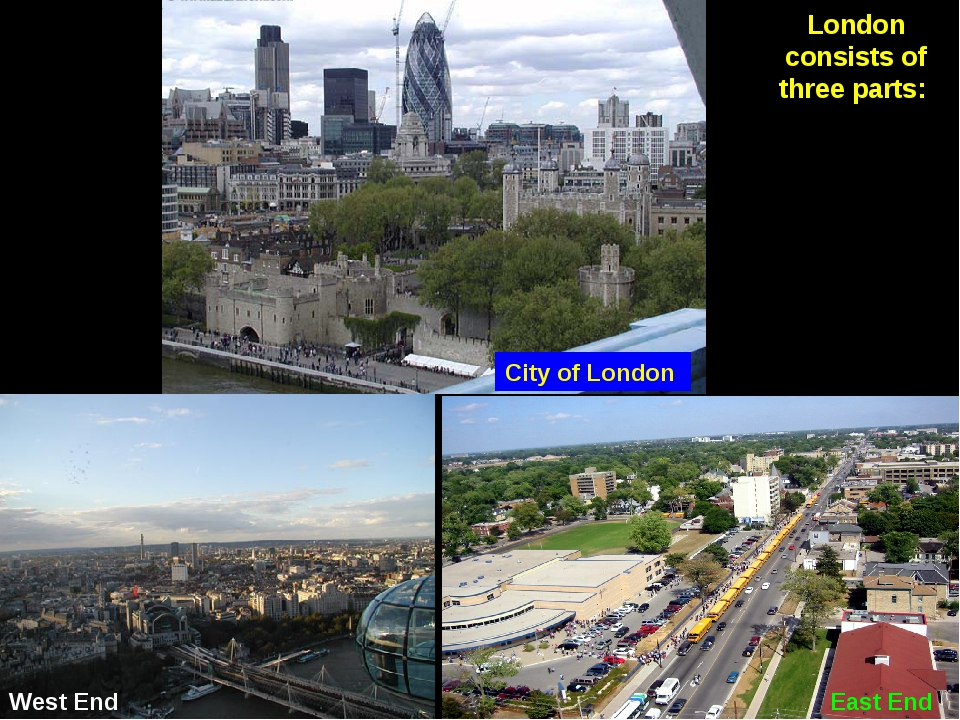 London consists of three parts: City of London West End East End