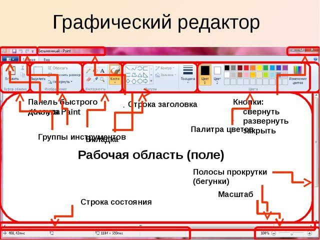Графический редактор Строка заголовка Панель быстрого доступа Кнопка Paint Кн...