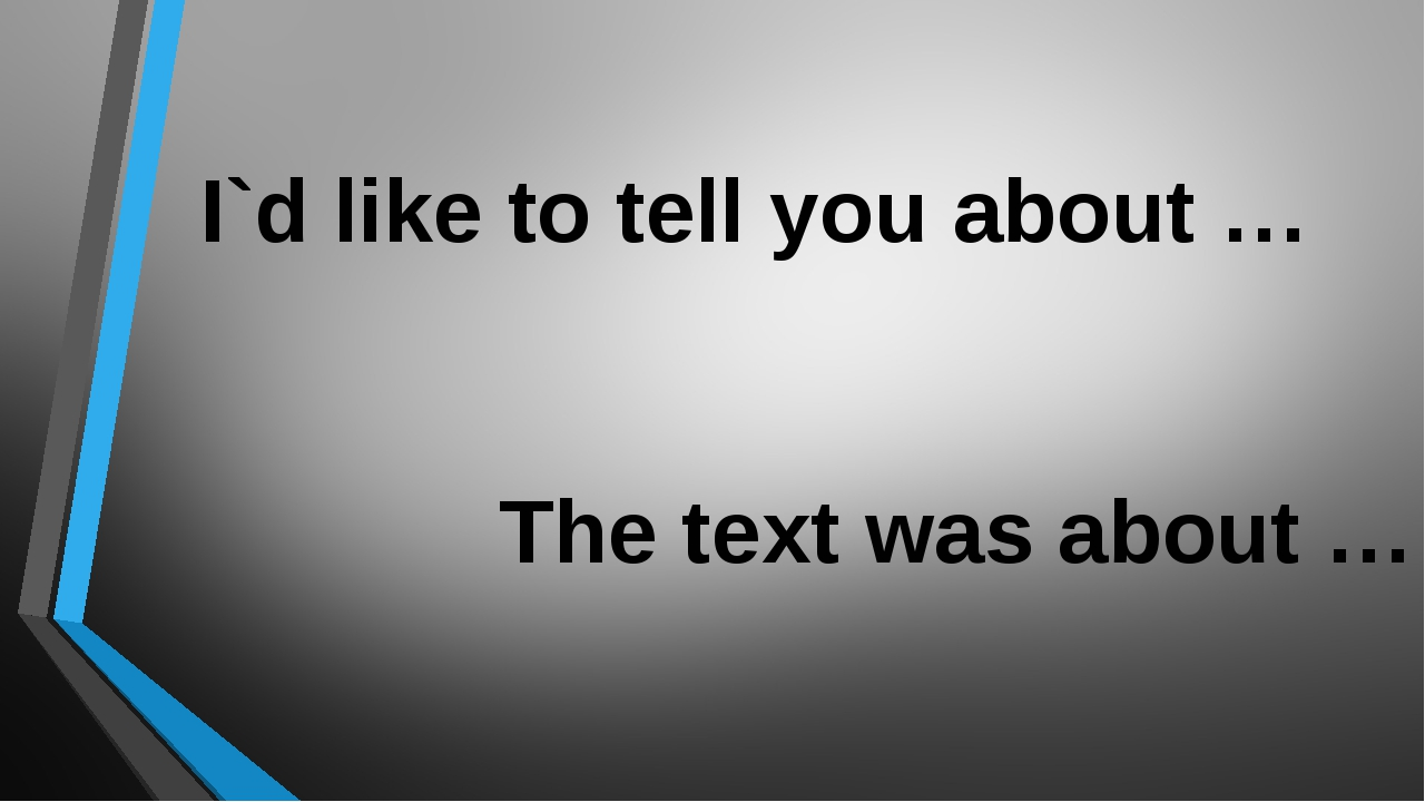 I`d like to tell you about … The text was about …