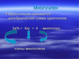 Многочленом называется алгебраическая сумма одночленов. 3a3b + 4xy + 4 - мног