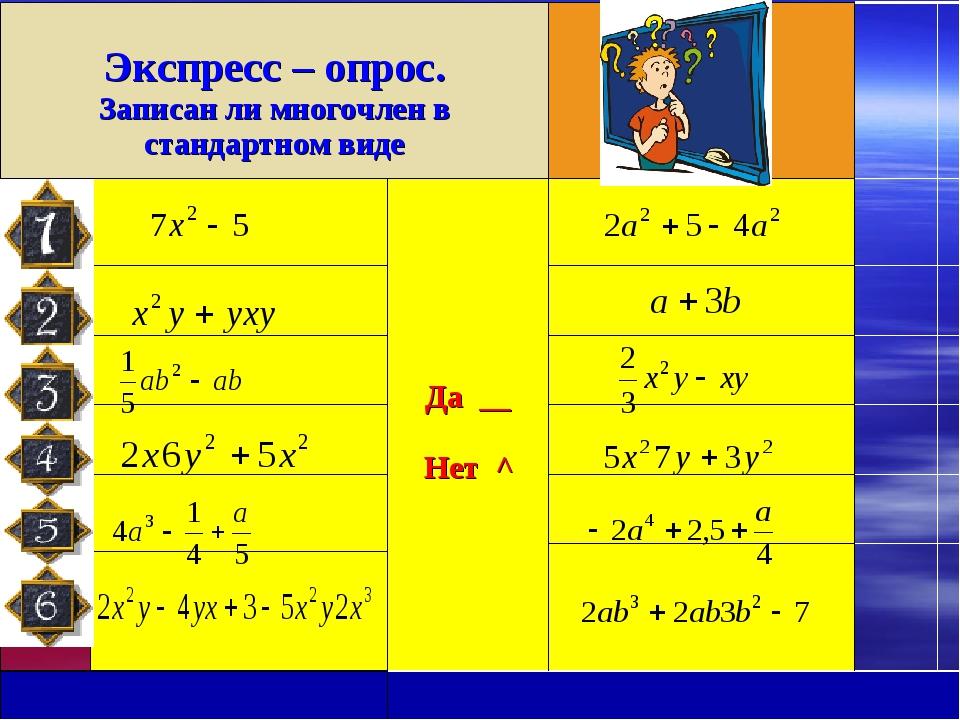 Экспресс – опрос. Записан ли многочлен в стандартном виде    Да __ Нет...