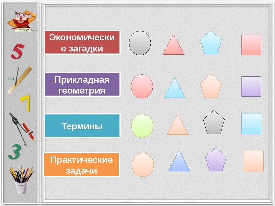 Экономические загадки Прикладная геометрия Практические задачи Термины