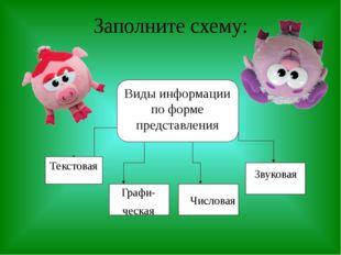 Заполните схему: Графи- ческая Числовая Звуковая