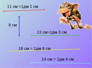 11 см =1дм 1 см 8 см 13 см=1дм 3 см 18 см = 1дм 8 см 14 см = 1дм 4 см