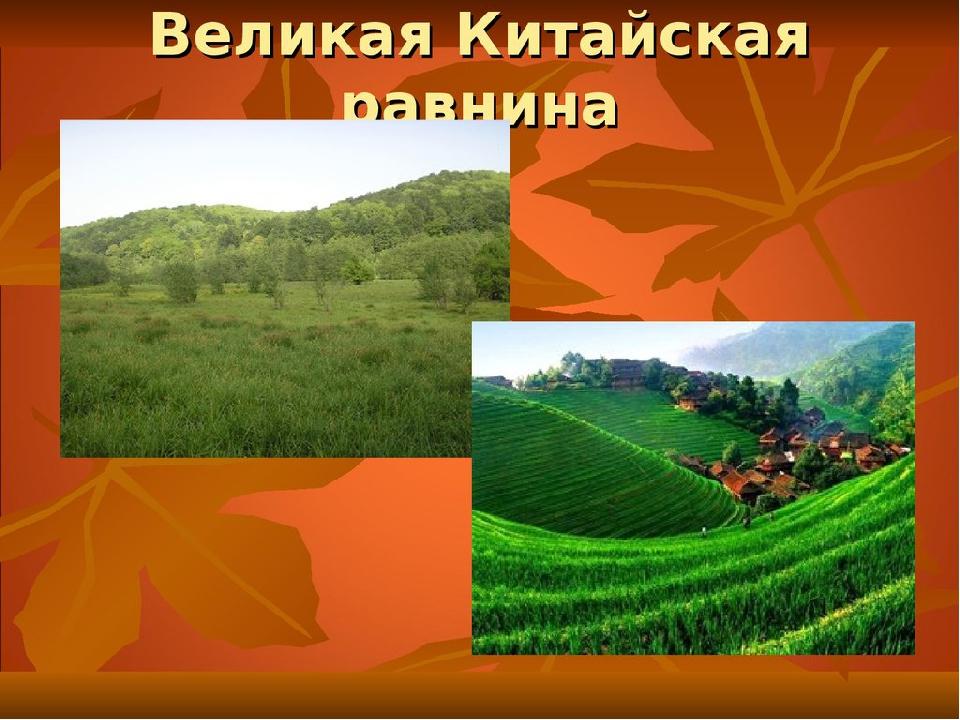 По виду рельефа различают равнины: плоские или горизонтальные – Великая Китай...