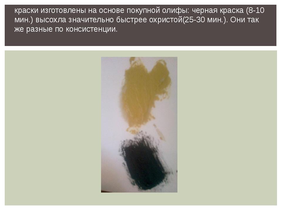 краски изготовлены на основе покупной олифы: черная краска (8-10 мин.) высохл...