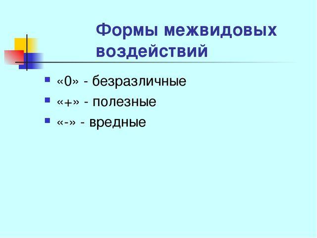 Формы межвидовых воздействий «0» - безразличные «+» - полезные «-» - вредные