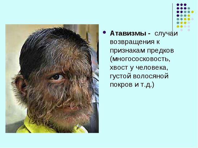 Атавизмы - случаи возвращения к признакам предков (многососковость, хвост у ч...