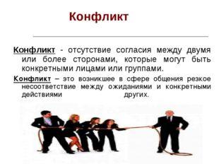 Конфликт Конфликт - отсутствие согласия между двумя или более сторонами, кот