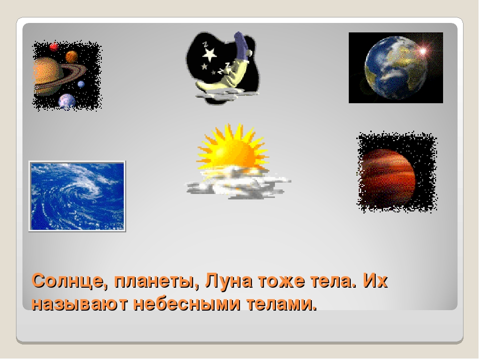 Солнце, планеты, Луна тоже тела. Их называют небесными телами.