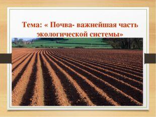 Тема: « Почва- важнейшая часть экологической системы»