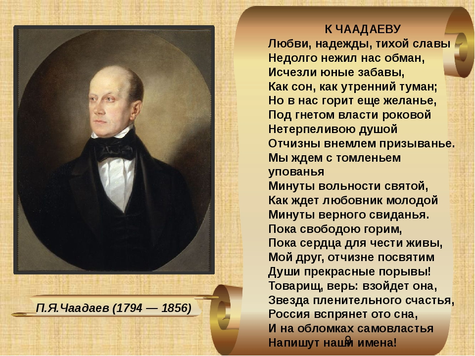 П.Я.Чаадаев (1794 — 1856) К ЧААДАЕВУ Любви, надежды, тихой славы Недолго нежи...