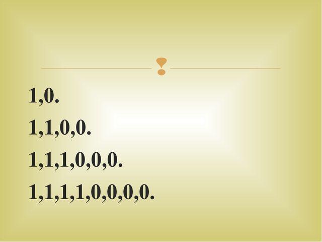 1,0. 1,1,0,0. 1,1,1,0,0,0. 1,1,1,1,0,0,0,0. 