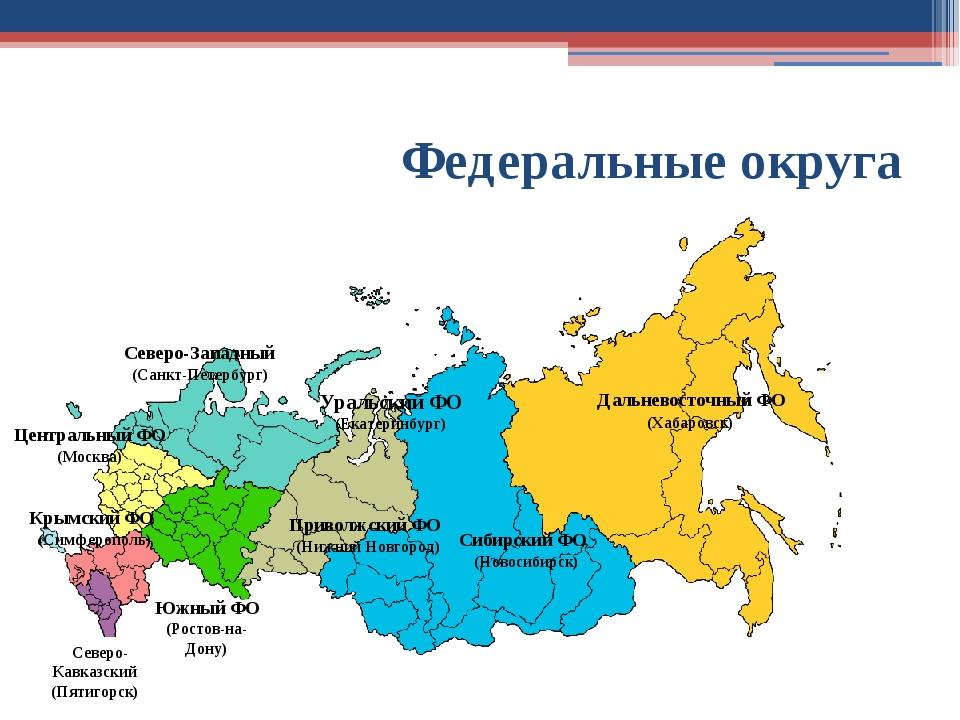 Федеральные округа Северо-Западный (Санкт-Петербург) Центральный ФО (Москва)...