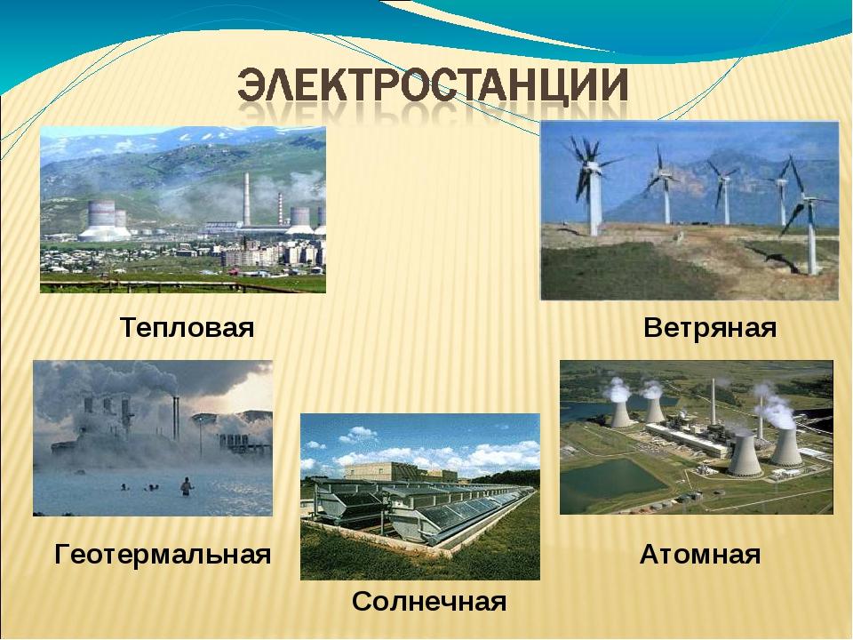 Атомная Тепловая Солнечная Ветряная Геотермальная
