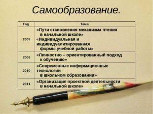Самообразование. Год Тема 2008 «Пути становления механизма чтения в начальной