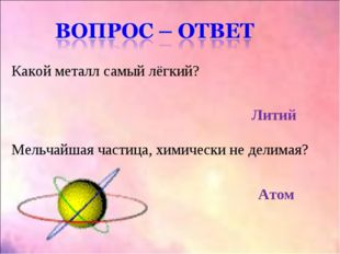 Какой металл самый лёгкий? Литий Мельчайшая частица, химически не делимая? Атом