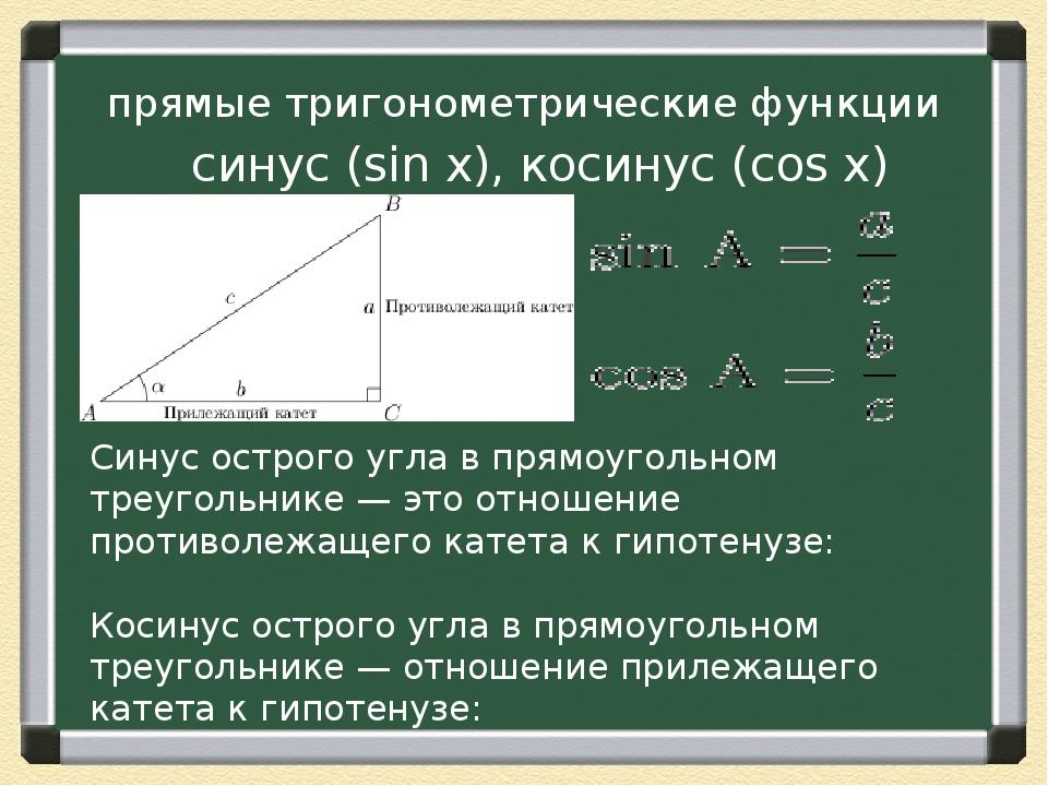 Синус острого угла в прямоугольном треугольнике — это отношение противолежаще...