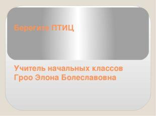 Берегите ПТИЦ Учитель начальных классов Гроо Элона Болеславовна