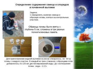 Определение содержания свинца и хлоридов в почвенной вытяжке Задача: 1.опреде