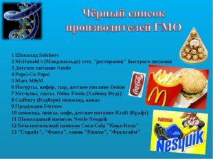 """1 Шоколад Snickers 2 McDonald's (Макдональдс) сеть """"ресторанов"""" быстрого пи"""