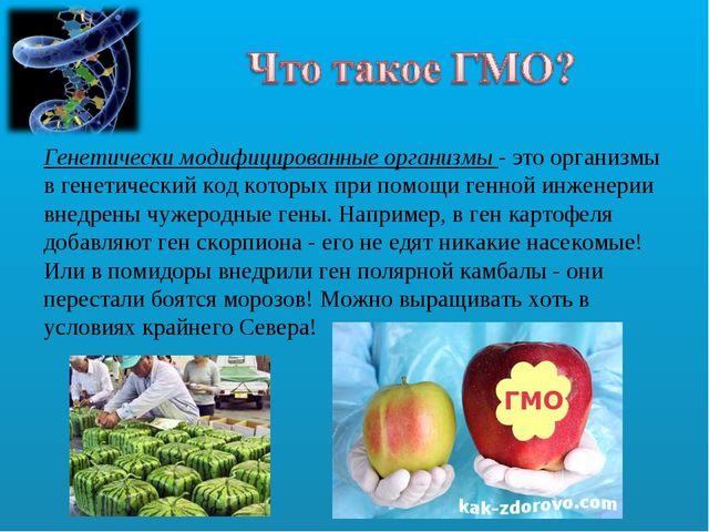 Генетически модифицированные организмы - это организмы в генетический код кот...