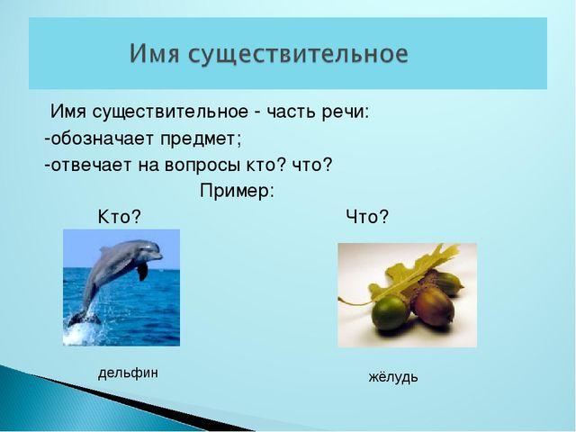 Имя существительное - часть речи: -обозначает предмет; -отвечает на вопросы...