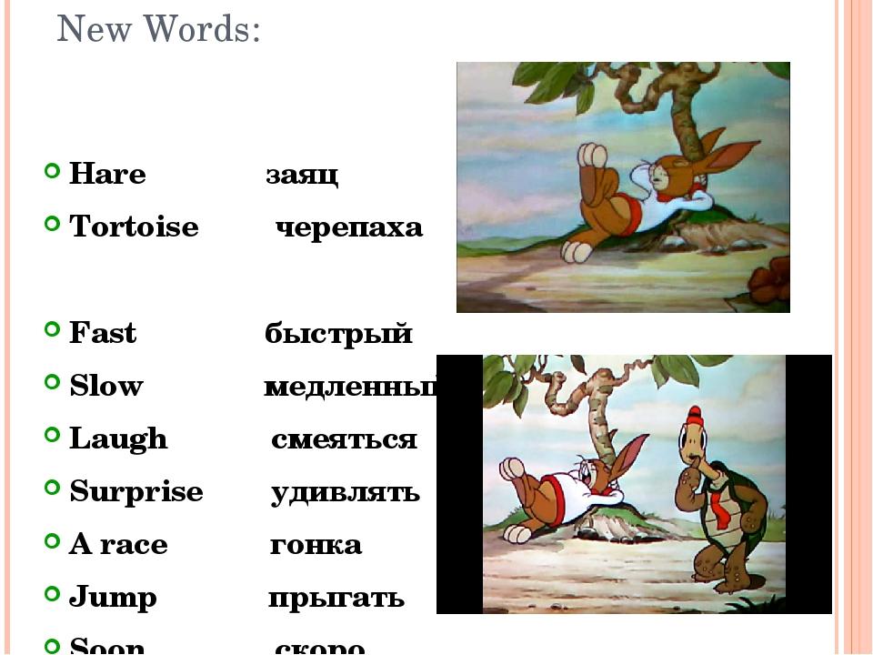 New Words: Hare заяц Tortoise черепаха Fast быстрый Slow медленный Laugh смея...