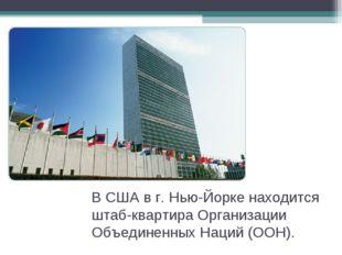 В США в г. Нью-Йорке находится штаб-квартира Организации Объединенных Наций (