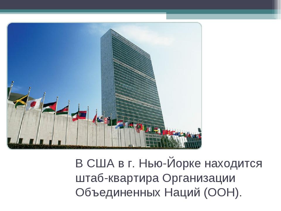 В США в г. Нью-Йорке находится штаб-квартира Организации Объединенных Наций (...