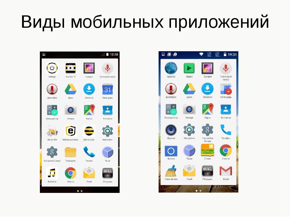 Виды мобильных приложений
