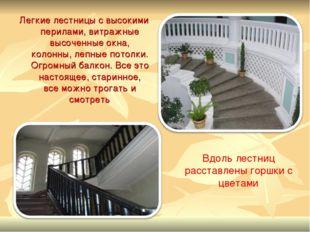 Легкие лестницы с высокими перилами, витражные высоченные окна, колонны, лепн