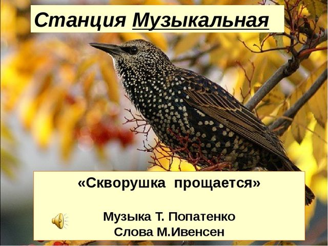 Станция Музыкальная «Скворушка прощается» Музыка Т. Попатенко Слова М.Ивенсен