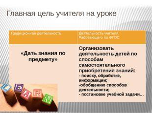 Главная цель учителя на уроке Традиционная деятельность Деятельность учителя.