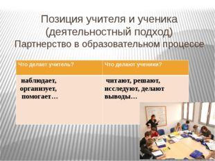 Позиция учителя и ученика (деятельностный подход) Партнерство в образовательн
