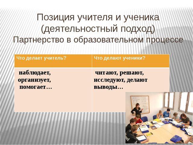 Позиция учителя и ученика (деятельностный подход) Партнерство в образовательн...