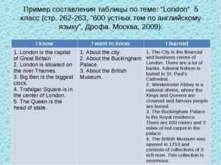 """Пример составления таблицы по теме: """"London"""" 5 класс (стр. 262-263, """"600 устн"""