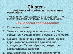 Cluster - графический приём систематизации материала. Мысли не громоздятся, а