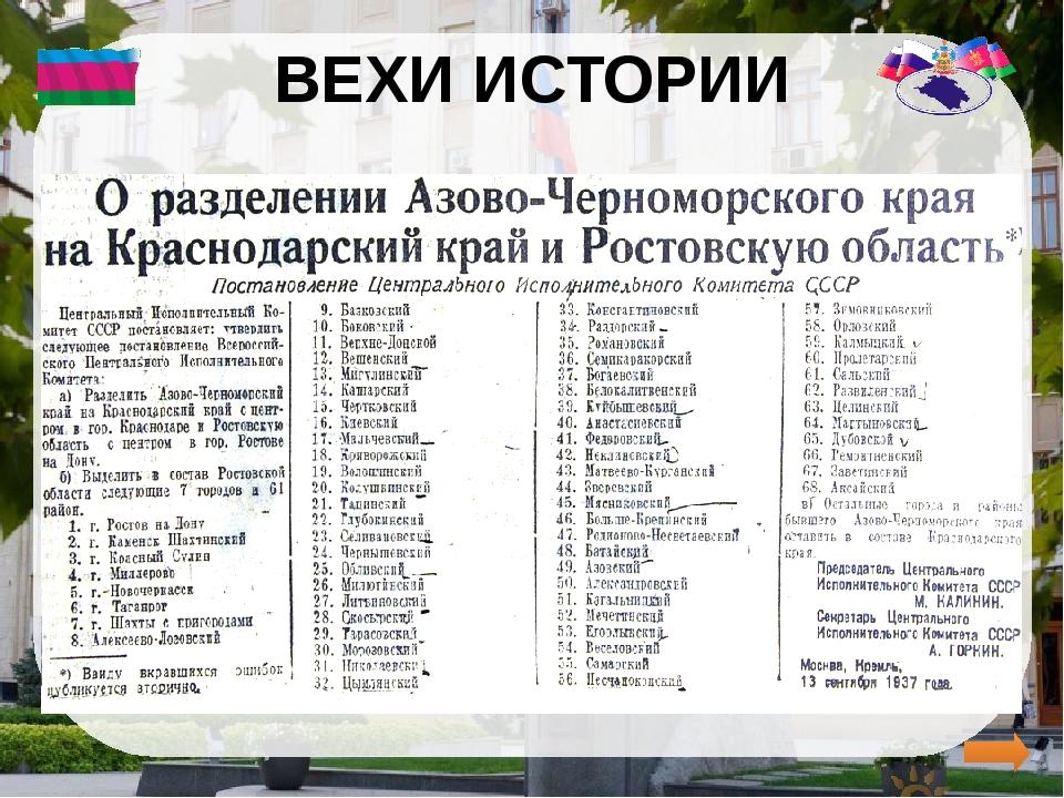 ВЕХИ ИСТОРИИ   Из 144 районов – 61 район отошел в Ростовскую область, оста...