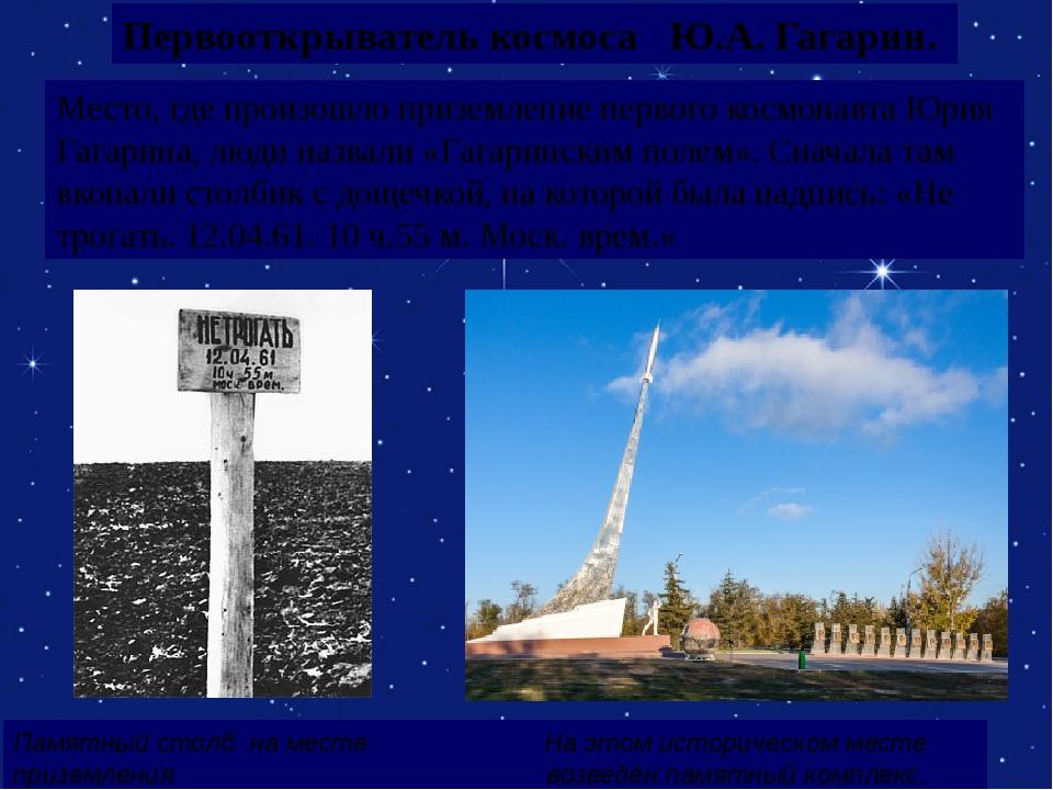 Первооткрыватель космоса Ю.А. Гагарин. Место, где произошло приземление перво...