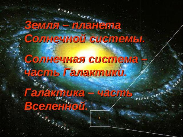 Земля – планета Солнечной системы. Солнечная система – часть Галактики. Галак...